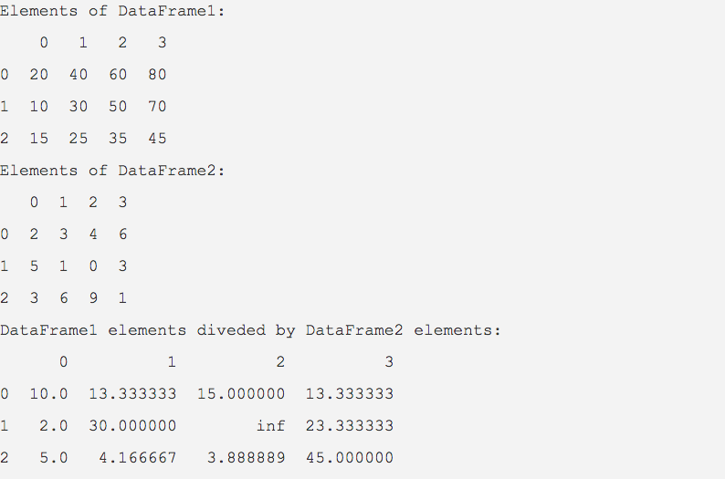 Output of a python example program that divides one DataFrame by another DataFrame